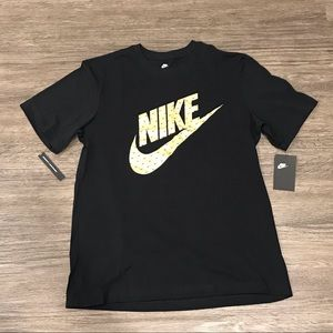 Nike Logo Gold Metallic Graphic Shirt